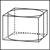 Прямоугольный параллелепипед описан около цилиндра, радиус основания которого равен .... Объем параллелепипеда равен .... Найдите высоту цилиндра.