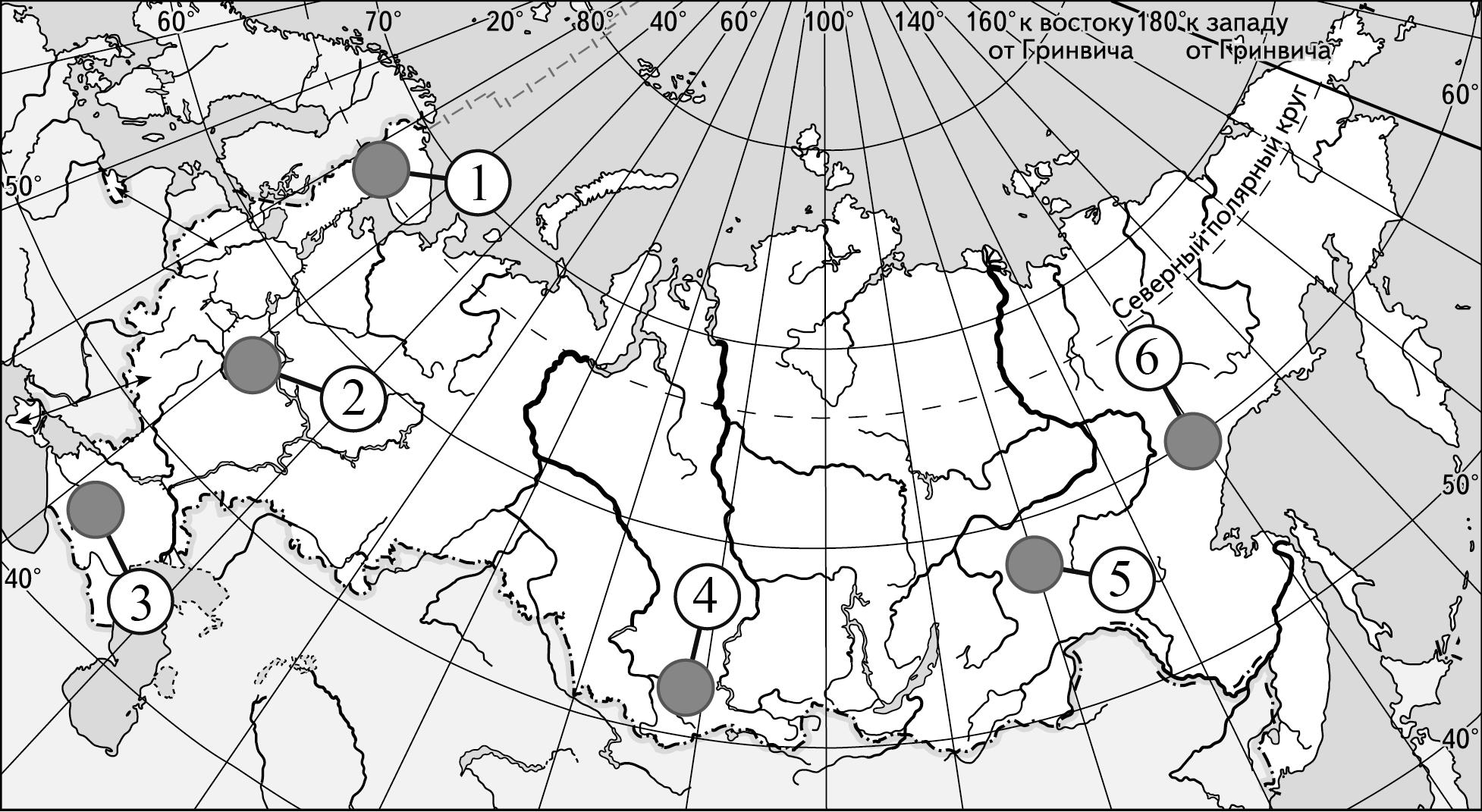 Какие три из обозначенных на карте России территорий имеют наибольшую среднюю плотность населения?