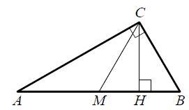 Острый угол ... прямоугольного треугольника ... равен .... Найдите угол между высотой ... и медианой ..., проведёнными из вершины прямого угла ....
