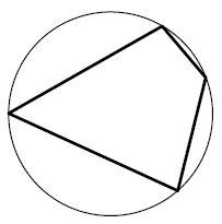 Два угла вписанного в окружность четырёхугольника равны ... и .... Найдите больший из оставшихся углов. Ответ дайте в градусах.